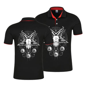 Goat Skull Head Satanic Polo Shirt