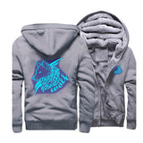 Wolf Glowing Fleece Zipper Jacket