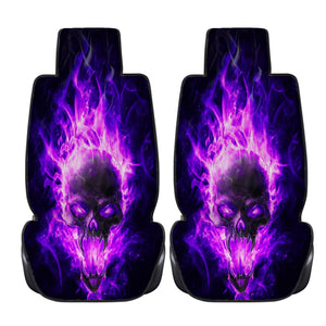Violet Fire Skull Car Seat Covers