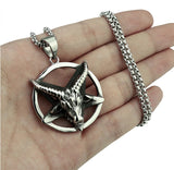 Pendant Necklace Stainless steel Star Baphomet Goat Pentagram