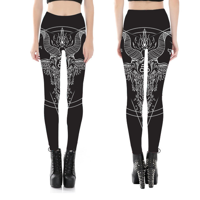 Baphomet Goat Skull Head Satanic Fitness Leggings