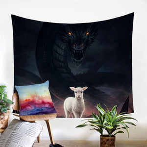 The Lamb & Dragon By JoJoesArt Wall Hanging, Tapestries Beach Throw Blanket Tablecloth