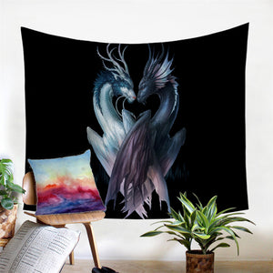 Yin & Yang Dragons Wall Hanging, Tapestries Beach Throw Blanket Tablecloth