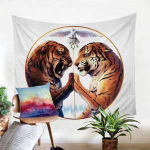 Peace by JoJosArt Two Tigers Wall Hanging, Tapestries Beach Throw Blanket Tablecloth - 2 Colors