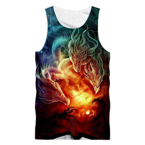 Herogameszone 3-Dragons Tank Top Sleeveless S Tank Top Sleeveless