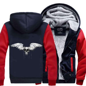 Herogameszone A Bat Skull Zip Hoodie Warm Fleece S / Red Zip Hoodie Warm Fleece