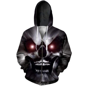 Herogameszone A Wicked Skull 3D Hoodie with Zipper Long Sleeve S 3D Hoodie with Zipper Long Sleeve