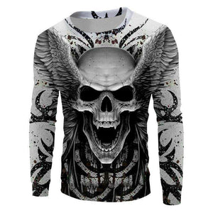 Herogameszone Angel Skull 3D Sweatshirt Long Sleeve S 3D Sweatshirt Long Sleeve