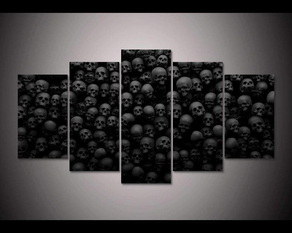 Herogameszone Black & White Skulls Canvas Printed Wall Art Medium / No Frame Canvas Printed Wall Art