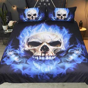 Herogameszone Blue Flame Skull Duvet Cover Bedding Set Bedding Set