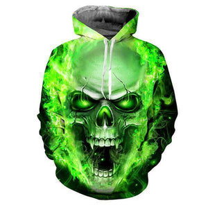 Herogameszone Blue & Green Evil Skull 3D Hoodie Long Sleeve - 2 Colors Green / S 3D Hoodie Long Sleeve - 2 Colors