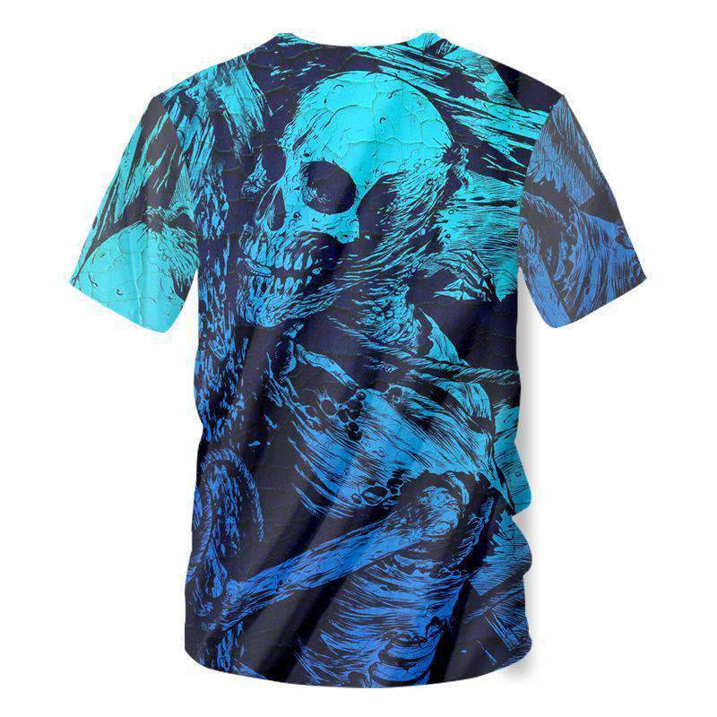 Herogameszone Blue Skeleton 3D T-Shirt Short Sleeve 3D T-Shirt Short Sleeve