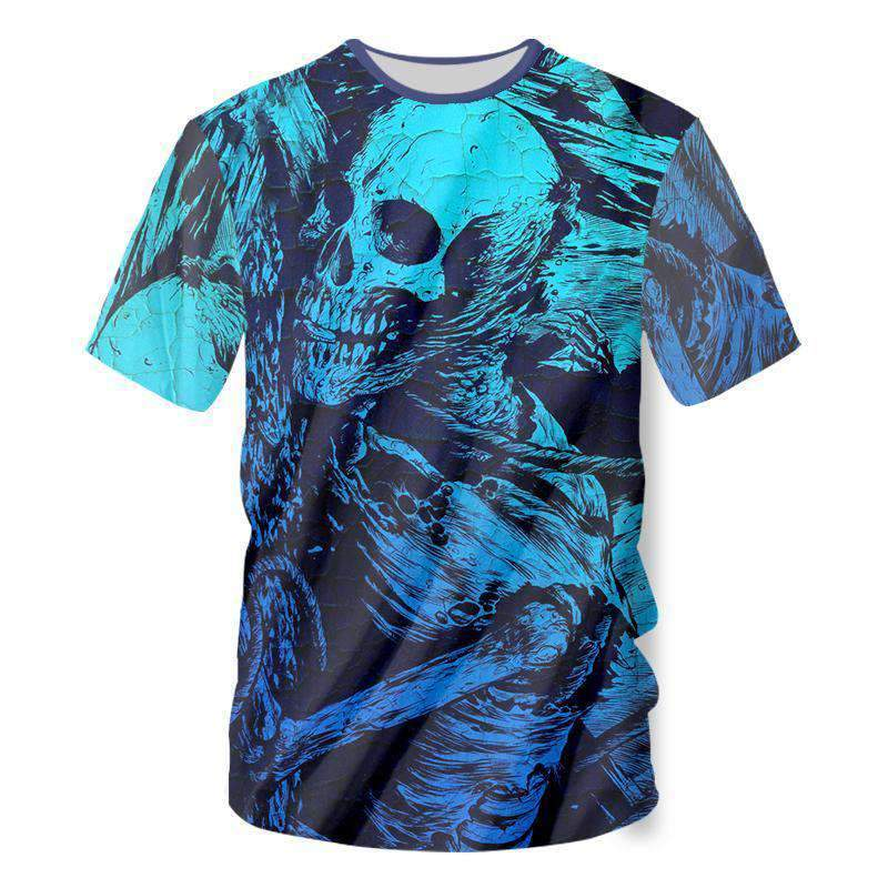 Herogameszone Blue Skeleton 3D T-Shirt Short Sleeve S 3D T-Shirt Short Sleeve