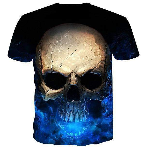 Herogameszone Blue Skull 3D T-Shirt Short Sleeve 3D T-Shirt Short Sleeve
