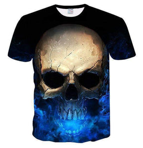Herogameszone Blue Skull 3D T-Shirt Short Sleeve M 3D T-Shirt Short Sleeve