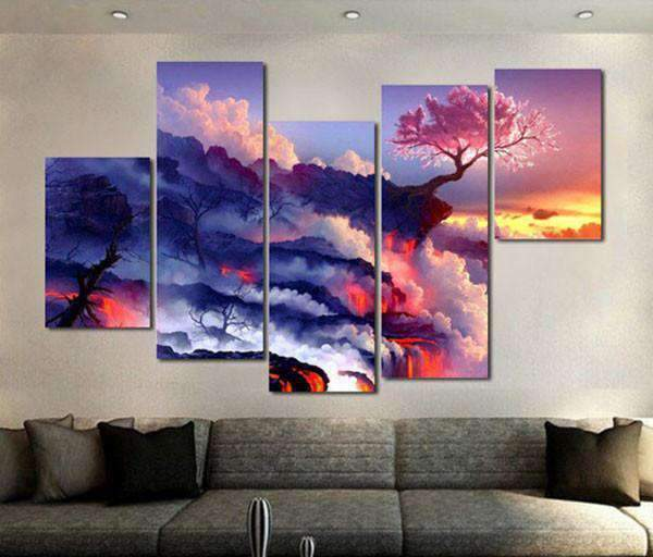 Herogameszone Clouds Mountain Fire Flowering Cherry Tree Canvas Printed Wall Art Canvas Printed Wall Art