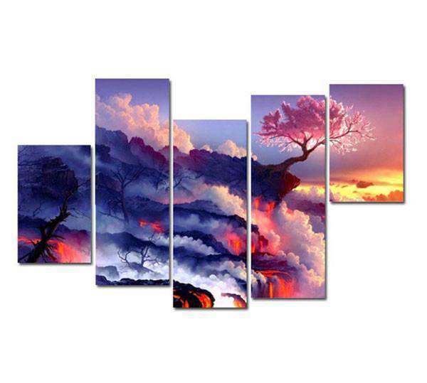Herogameszone Clouds Mountain Fire Flowering Cherry Tree Canvas Printed Wall Art Medium / No Frame Canvas Printed Wall Art
