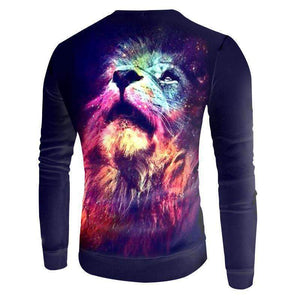 Herogameszone Colorful Lion 3D Sweatshirt Long Sleeve 3D Sweatshirt Long Sleeve