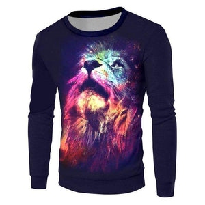 Herogameszone Colorful Lion 3D Sweatshirt Long Sleeve S 3D Sweatshirt Long Sleeve
