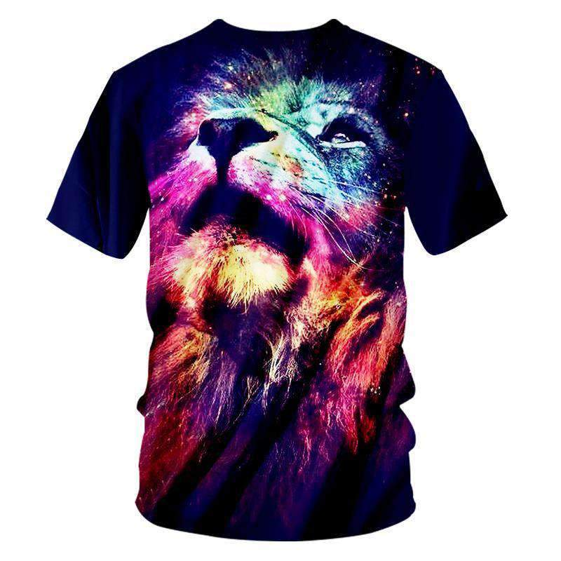 Herogameszone Colorful Lion 3D T-Shirt Short Sleeve 3D T-Shirt Short Sleeve