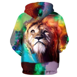 Herogameszone Colorful Lion King 3D Hoodie Long Sleeve 3D Hoodie Long Sleeve