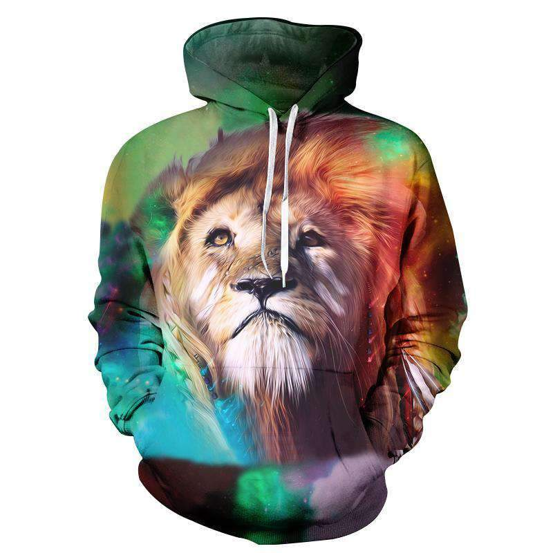 Herogameszone Colorful Lion King 3D Hoodie Long Sleeve S 3D Hoodie Long Sleeve