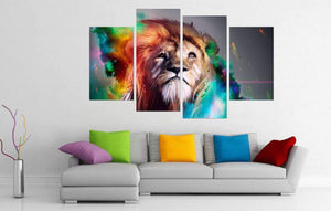 Herogameszone Colorful Lion King Canvas Printed Wall Art Canvas Printed Wall Art