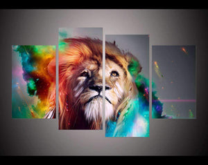 Herogameszone Colorful Lion King Canvas Printed Wall Art Medium / No Frame Canvas Printed Wall Art