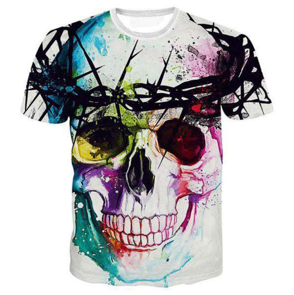 Herogameszone Colorful Skull 3D T-shirts Short Sleeve S 3D T-shirts Short Sleeve