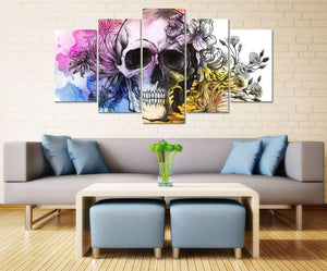 Herogameszone Colorful Skull Canvas Printed Wall Art Canvas Printed Wall Art