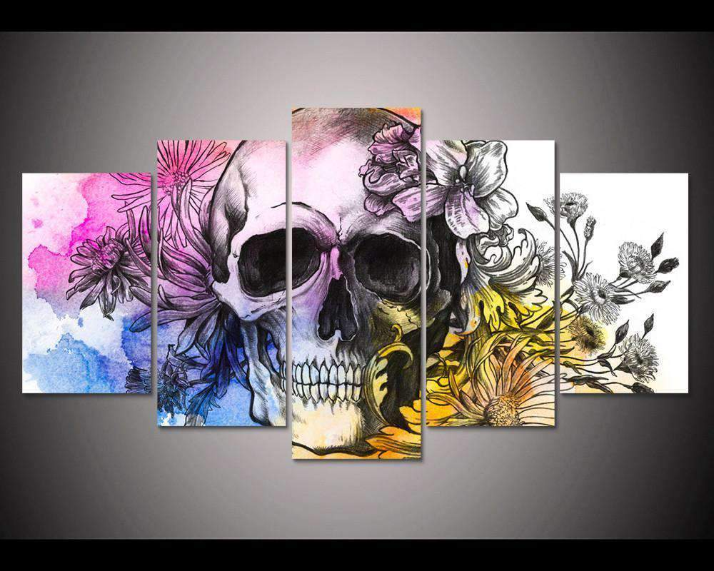 Herogameszone Colorful Skull Canvas Printed Wall Art Medium / No Frame Canvas Printed Wall Art