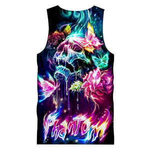 Herogameszone Colorful Skull Tank Top Sleeveless Tank Top Sleeveless