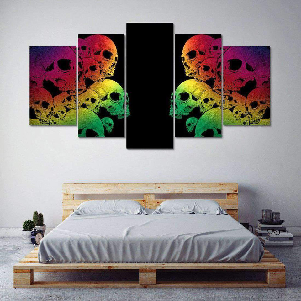 Herogameszone Colorful Skulls Canvas Printed Wall Art Canvas Printed Wall Art