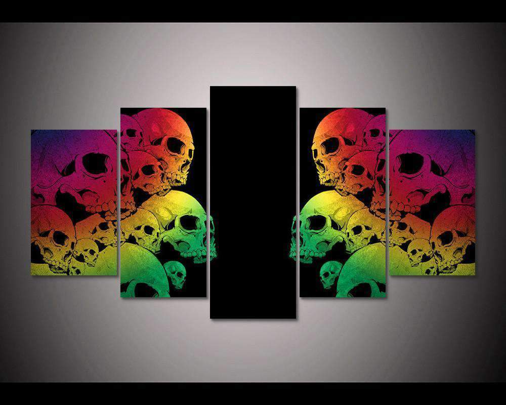 Herogameszone Colorful Skulls Canvas Printed Wall Art Medium / No Frame Canvas Printed Wall Art