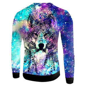 Colorful Wolf 3D Sweatshirt Long Sleeve
