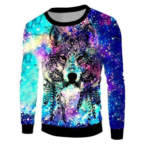 Herogameszone Colorful Wolf 3D Sweatshirt Long Sleeve S 3D Sweatshirt Long Sleeve