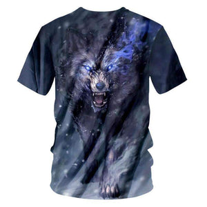 Herogameszone Dark Wolf 3D T-Shirt Short Sleeve 3D T-Shirt Short Sleeve