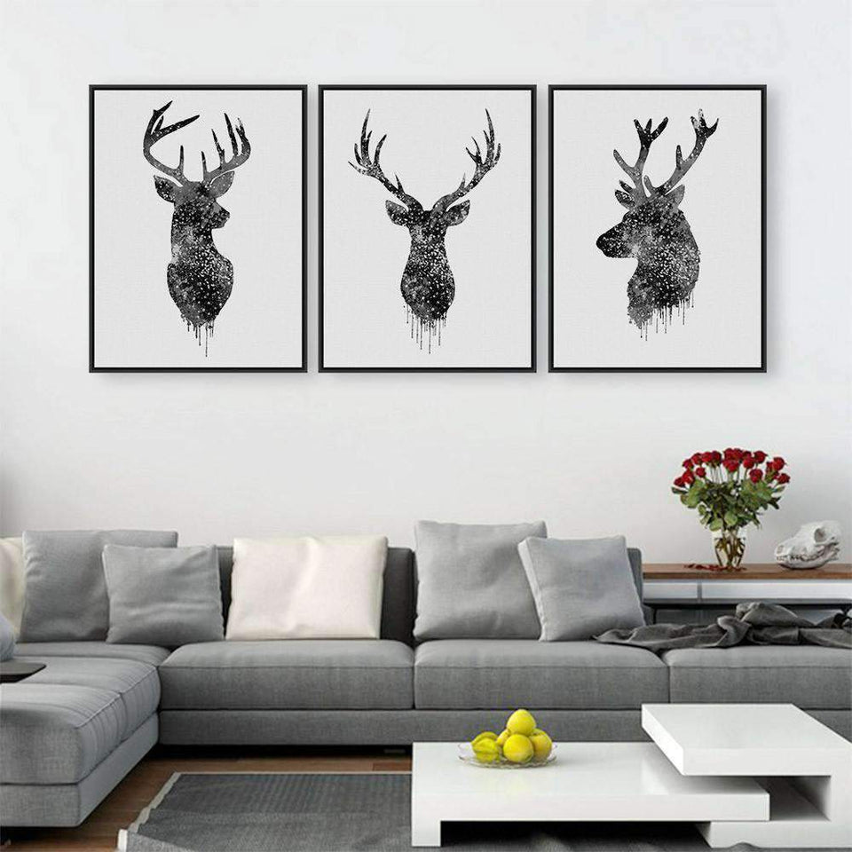 Herogameszone Deer Head Canvas Printed Wall Art - 2 Colors 30x40cmx3 / No Frame / Black Canvas Printed Wall Art - 2 Colors