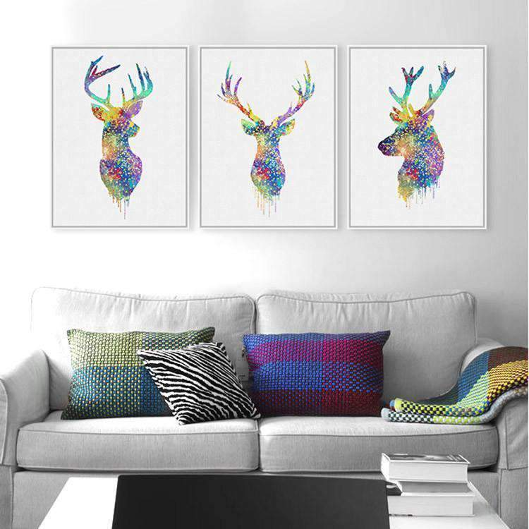 Herogameszone Deer Head Canvas Printed Wall Art - 2 Colors 30x40cmx3 / No Frame / Colorful Canvas Printed Wall Art - 2 Colors