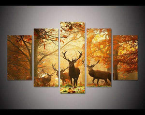 Herogameszone Deer in the Forest Canvas Printed Wall Art Medium / No Frame Canvas Printed Wall Art