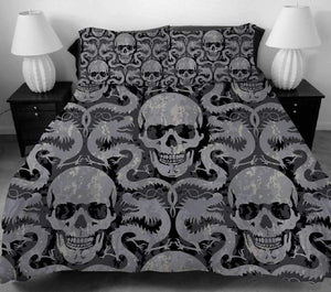 Herogameszone Dragon & Skulls Duvet Cover Bedding Set US Full Bedding Set