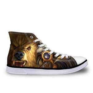 Herogameszone Evil Bear Canvas Shoes For Unisex High-Top Printed Casual US 5 Canvas Shoes For Unisex High-Top Printed Casual