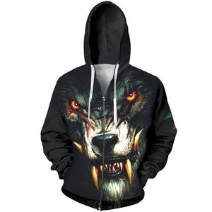 Herogameszone Evil Wolf 3D Hoodie with Zipper Long Sleeve S 3D Hoodie with Zipper Long Sleeve