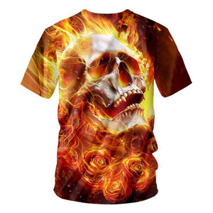 Herogameszone Fire Skull 3D T-Shirt Short Sleeve 3D T-Shirt Short Sleeve