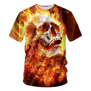 Herogameszone Fire Skull 3D T-Shirt Short Sleeve S 3D T-Shirt Short Sleeve
