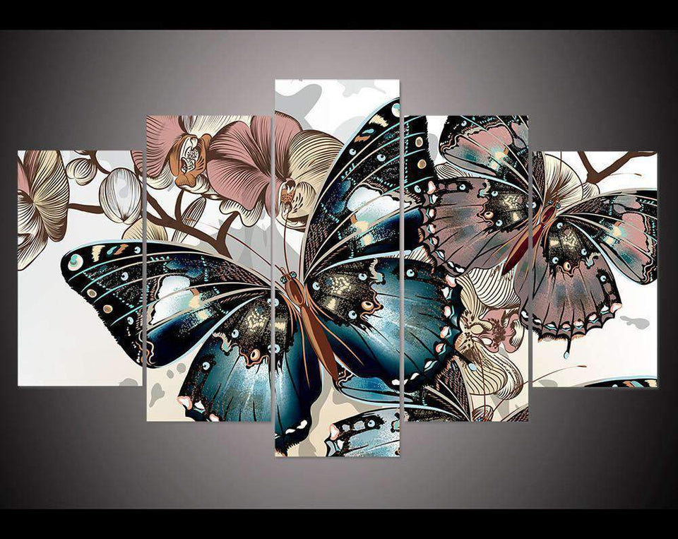 Herogameszone Floral Butterfly Canvas Printed Wall Art Medium / No Frame Canvas Printed Wall Art