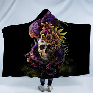 Herogameszone Flowery Skull Hooded Blanket Adults 150(H)x200(W) Flowery Skull Hooded Blanket
