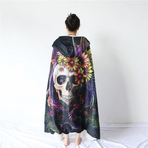 Herogameszone Flowery Skull by SunimaArt Hooded Blanket Adults 150(H)x200(W) Flowery Skull by SunimaArt Hooded Blanket