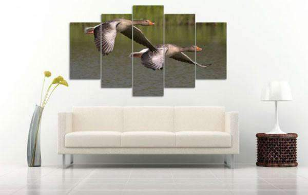 Herogameszone Geese Fly Over the Water Canvas Printed Wall Art Canvas Printed Wall Art