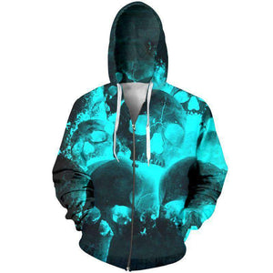 Herogameszone Glow Skulls 3D Hoodie with Zipper Long Sleeve S 3D Hoodie with Zipper Long Sleeve